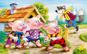 Three little pigs and big vad wolf