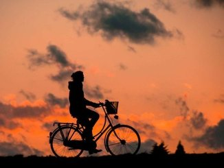 A bicycle rider inder evening coloured sky - Seek Success
