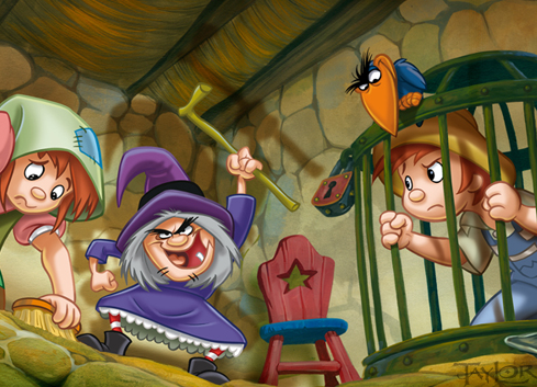 Then she caught Hansel and locked up in a cage. Gretel started to cry again. The witch wanted to bake Hansel and eat him.