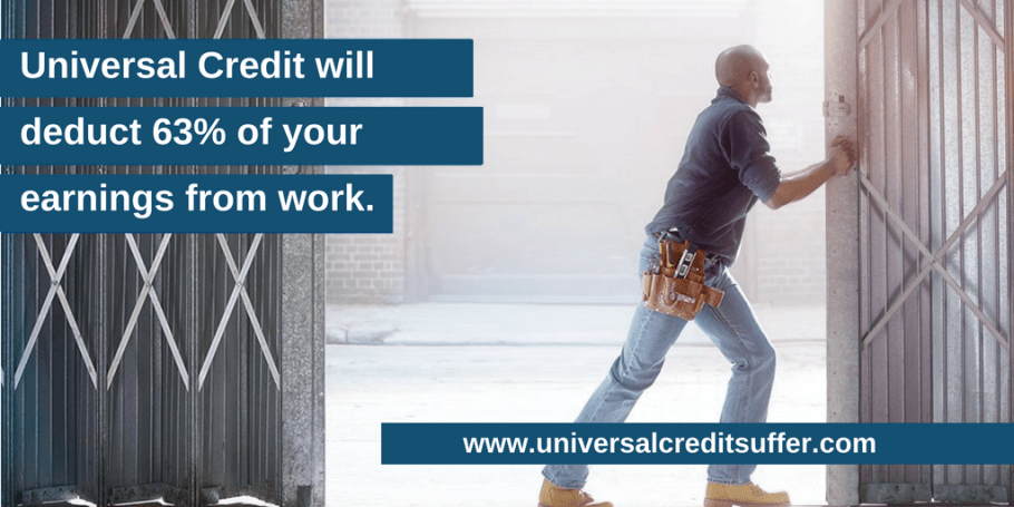 Picture of man opening an sliding door, with the title saying Universal Credit will deduct 63% of your earnings from work.