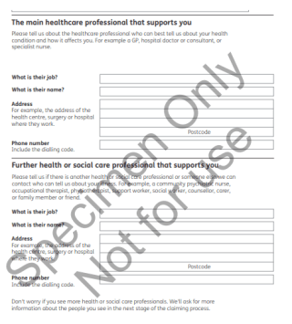 Example of the PIP form asking for healthcare details and consent - Crown Copyright
