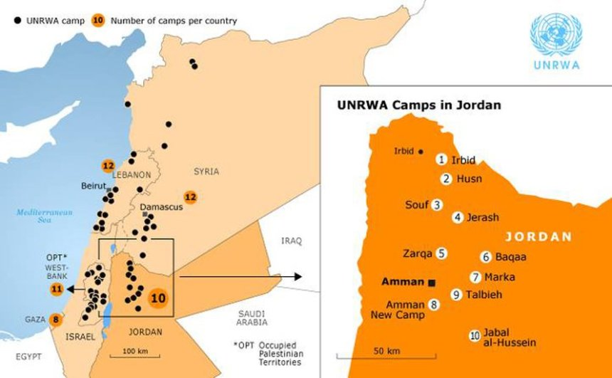 UNRWA camps in Jordan, Syria, Lebanon and Palestine