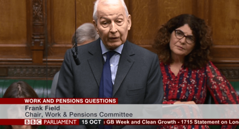 Frank Field MP in the house of commons