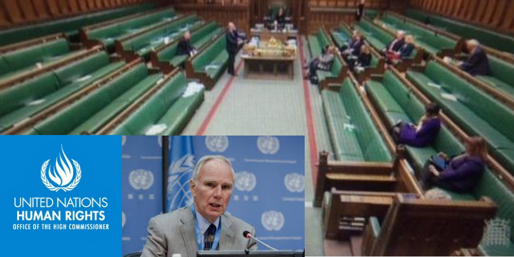 UN Poverty Report Philip Alston with empty house of commons