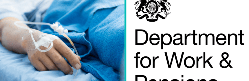 DWP logo next to a hospital patient benefit claimant