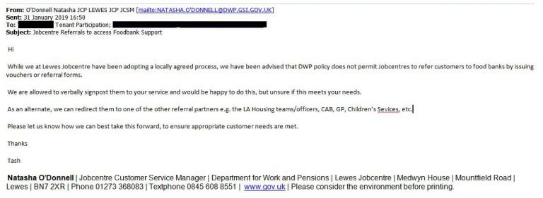 Foodbank referral DWP email