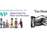 PIP Assessment Logo with finger pointing saying Go Home