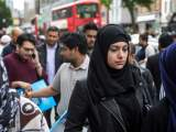 British Muslim women in street