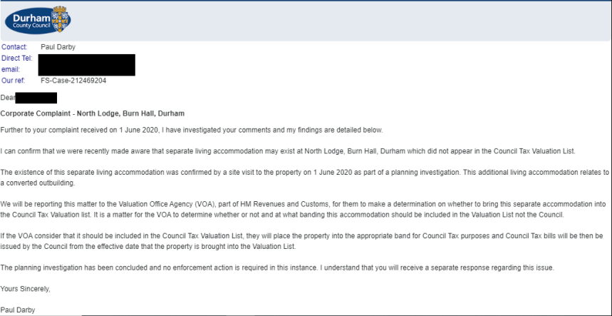 Durham County Council decison on Dominic Cummimgs Council Tax