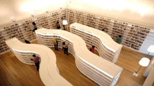 Overhead view of library shelves