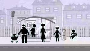 Stick figures represent the family members. The video is in black and white. This is one frame from  Meet the Normals, Adventures in Universal Design.