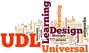 A collage of words relating to universal design for learning