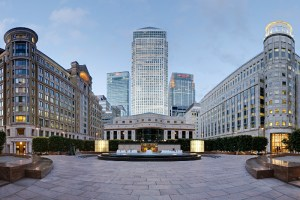 Picture of Cabot Square, Canary Wharf, London showing an open paved space with attractive buildings on all sides