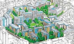 Drawing of a new development showing lots of apartment buildings with a park in the middle