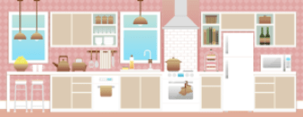 Stylised drawing of a kitchen, somewhat 1950s style with pink and blue colours