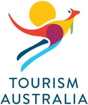 Logo of Tourism Australia - Colourful kangaroo shape with blue upper case text