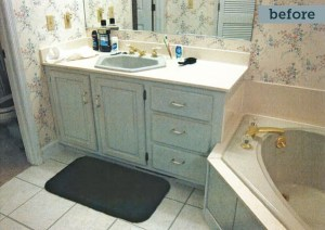 Picture of an old bathroom vanity with a section of a corner bath tub
