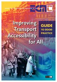 Front cover of the report. shows people boarding a tram. Accessible Transport good practice guide.