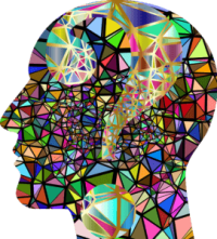 graphic of a side-on view of a head with a mosaic of brightly coloured triangles filling the space. Minimise brain drain to reduce cognitive load.