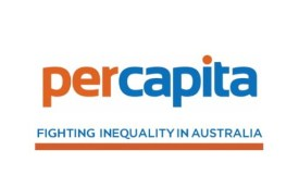 per capita logo in orange and blue with fighting inequality in Australia