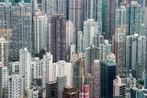 Aerial view of high rise buildings in Hong Kong