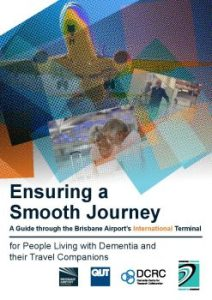 Front cover of the Brisbane airport travel guide for people with dementia showing an aircraft overlaid with artistic coloured squares
