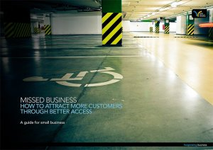 Front cover of the Missed Business guide showing an empty car park and an empty accessible car space