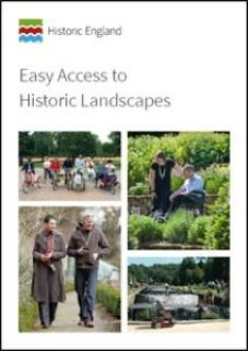 Front cover of the guide with four pictures of people in different historic locations