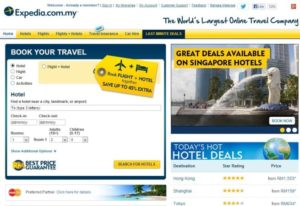 screnshot of expedia website