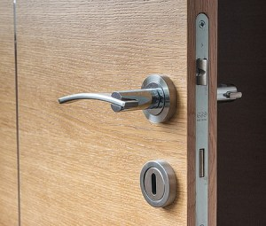 A chrome lever door handle with the door ajar. The door is timber