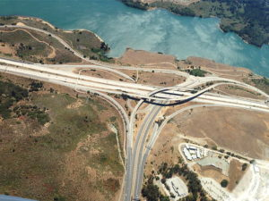 An aerial view of a new highway junction with overpasses.
