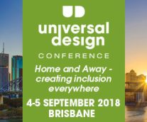Square banner with conference date and theme, Home and Away, creating inclusion everywhere.