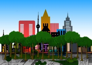A graphic showing tall buildings and trees set on an architect drawing