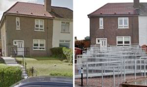 A suburban house in UK showing before and after the ramp. The ramp makes several zig-zags up the front of the house. It looks ugly.