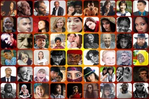 A mosaic of many different faces and nationalities. Designing for diversity.