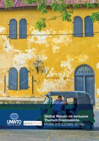 Front cover of the Inclusive Tourism Global Report showing a yellow two storey building with blue doors and shutters. A man sits in a tuk tuk outside.