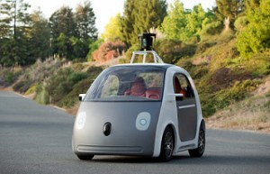 Automated driverless vehicle on the road.