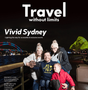 Front cover of the magazine showing a family at the Vivid Sydney festival. The father is sitting in a wheelchair. His wife and two children surround him.