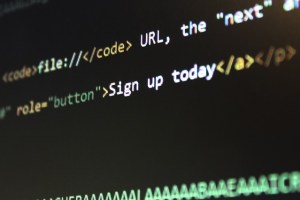 part of a computer screen with black background and some words indicating coding.