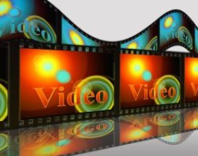 A brightly coloured film strip with the word Video on it.