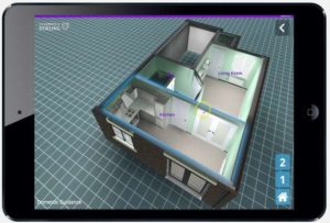 A 3D layout of a home looking down to see the room layouts.