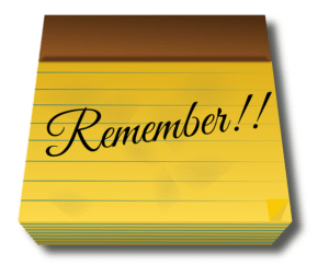 A yellow notepad with the word Remember.