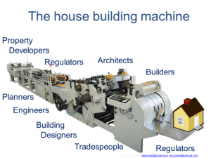 A line of complex manufacturing machinery used to show the complex process and number of stakeholders involved in mass market housing.