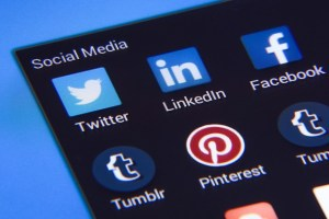 Social media icons, Facebook, Linked In, Tumblr and Pinterest