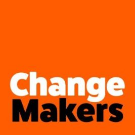 An orange backgroud with text saying change makers.