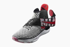Grey and red basketball shoe showing the drop down back section and warp around fastener.