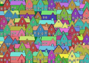 Brightly coloured graphic of little houses clustered together