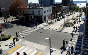 A street in Seattle showing pedestrian areas.