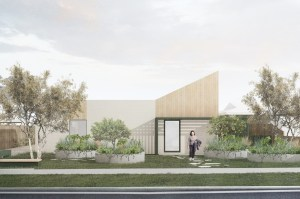 Artists impression of the four unit complex from the street showing treas and plantings and low set building with an angled roofline.