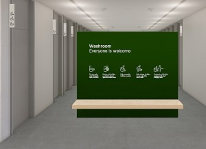 A walkway entrance at a leisure facility has a big green sign that has icons showing lots of different user groups. Universally designed leisure facilities.